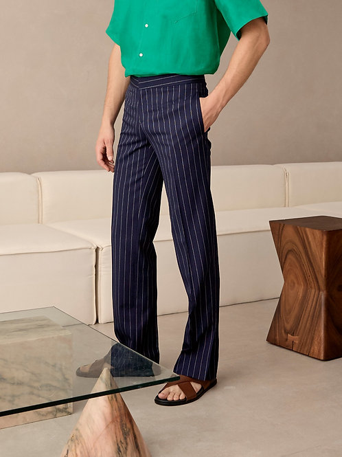 Navy Stripe Wool-Blend Slit Trousers