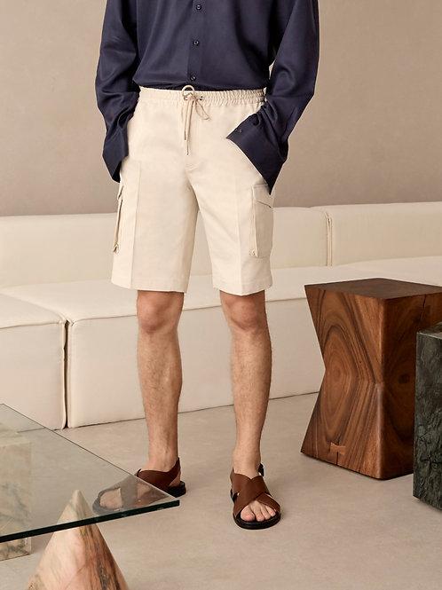 Beige Cotton Cargo Shorts