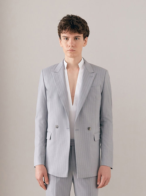 Grey Striped Double-Breasted Suit