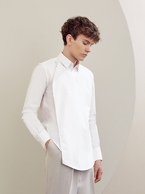 White Cotton  Double Layer Shirt