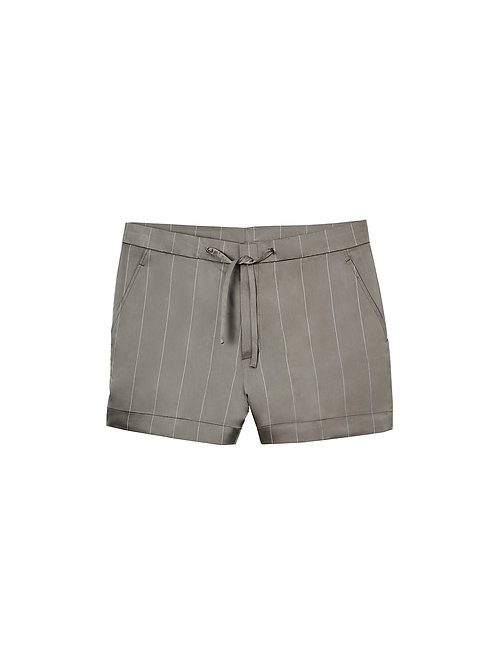 Beige Stripe Silk Satin Shorts