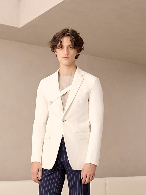 White Herringbone  Suit Jacket