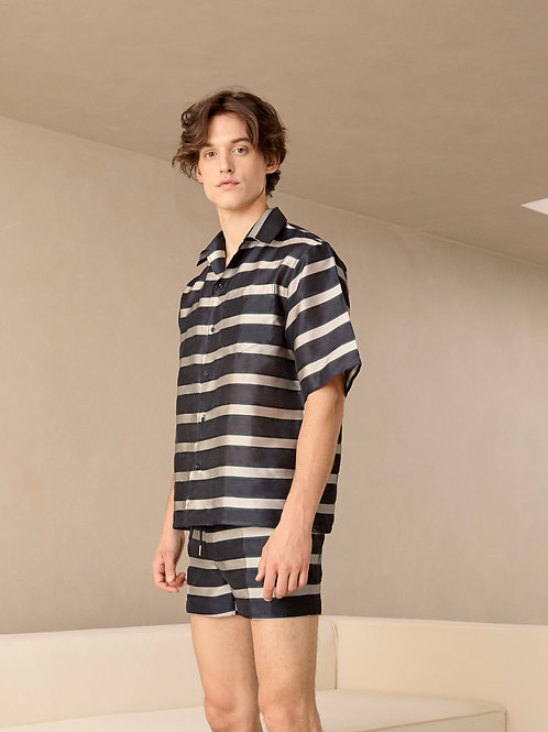 Navy Pattren Stripes Havana Shirt
