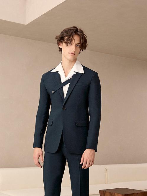 Dark Green Wool-Blend Jacket Suit