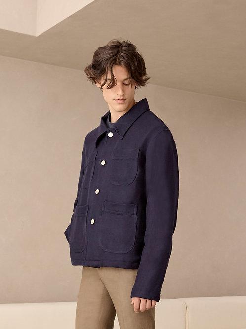 Navy Blue Two-Tone Linen Jacket
