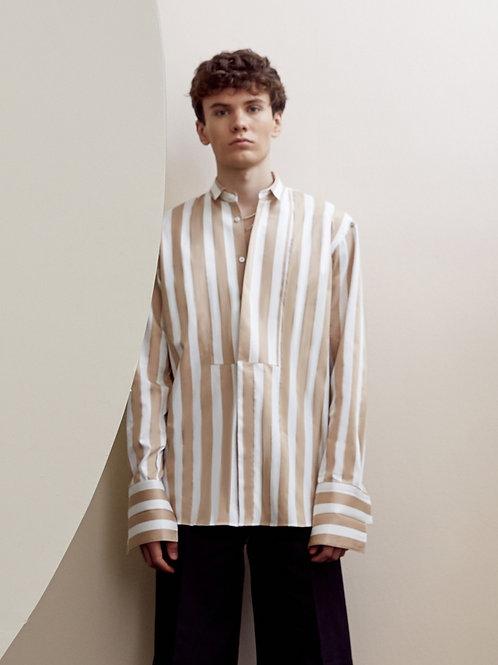 Beige Stripe  Oversized Cotton  shirt