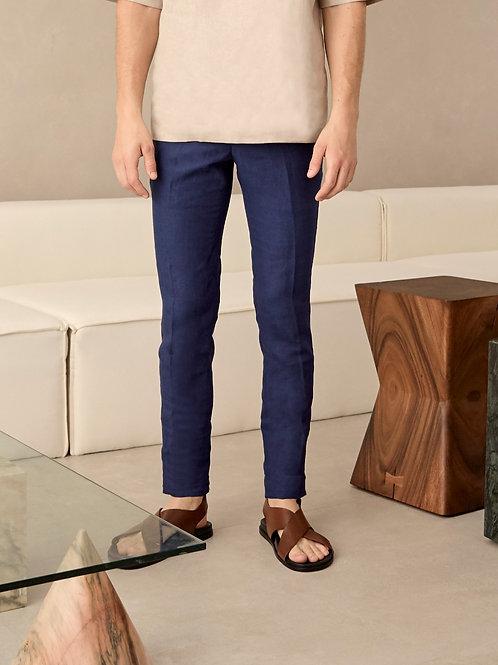 Blue Linen Slim-Fit Trousers