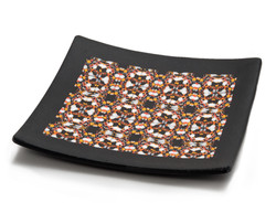 Black and Orange Square Plate