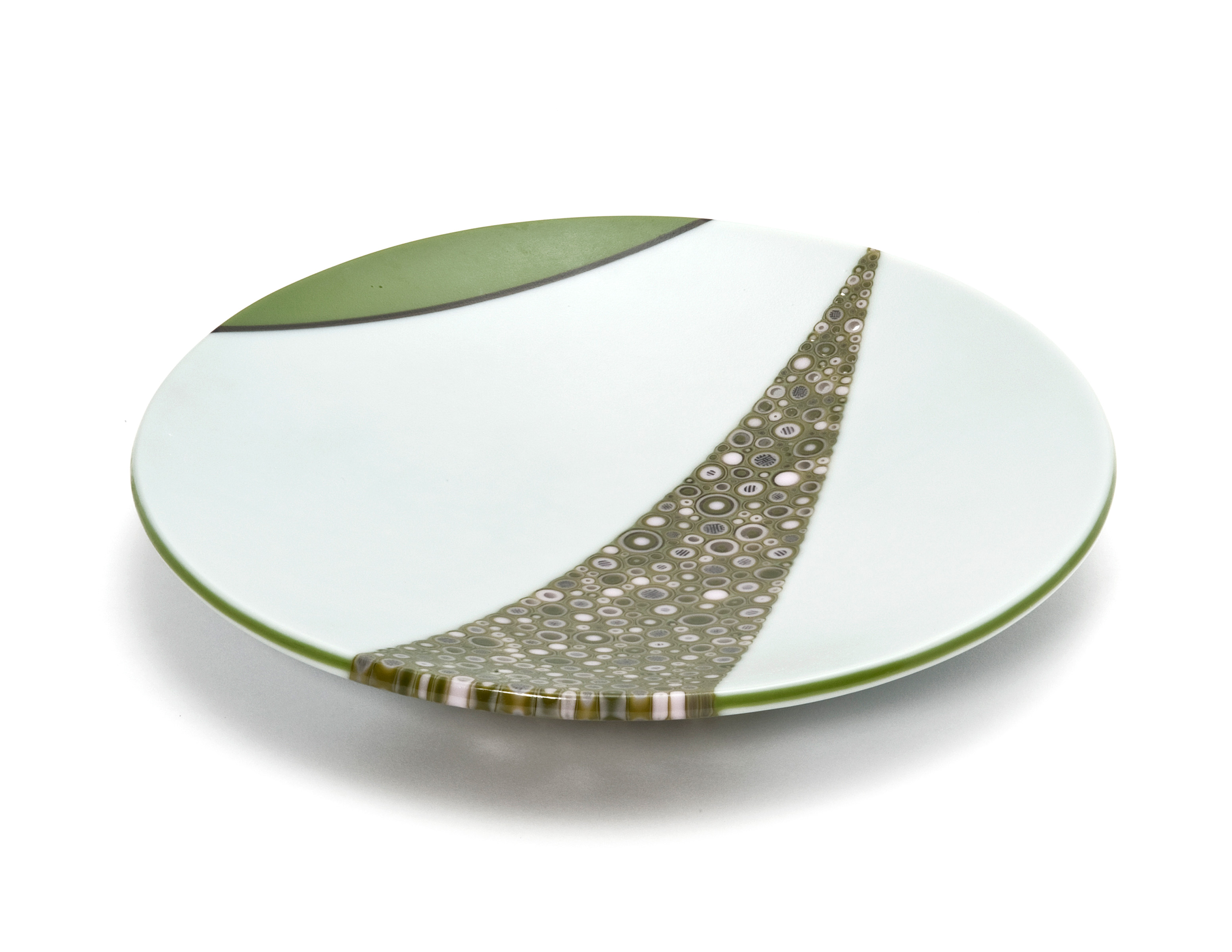 Olive Green and White Large Bowl