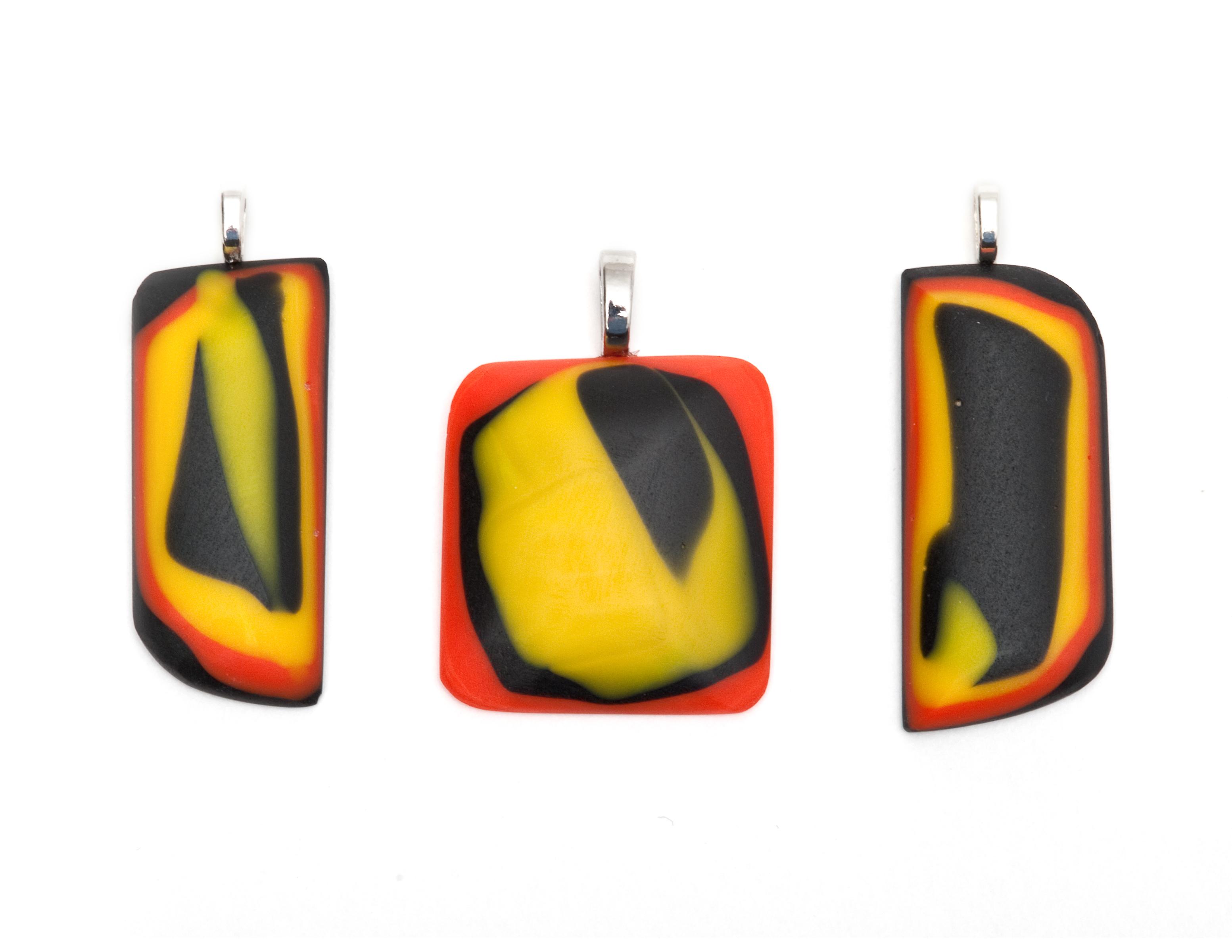 Orange, Yellow and Black Pendants