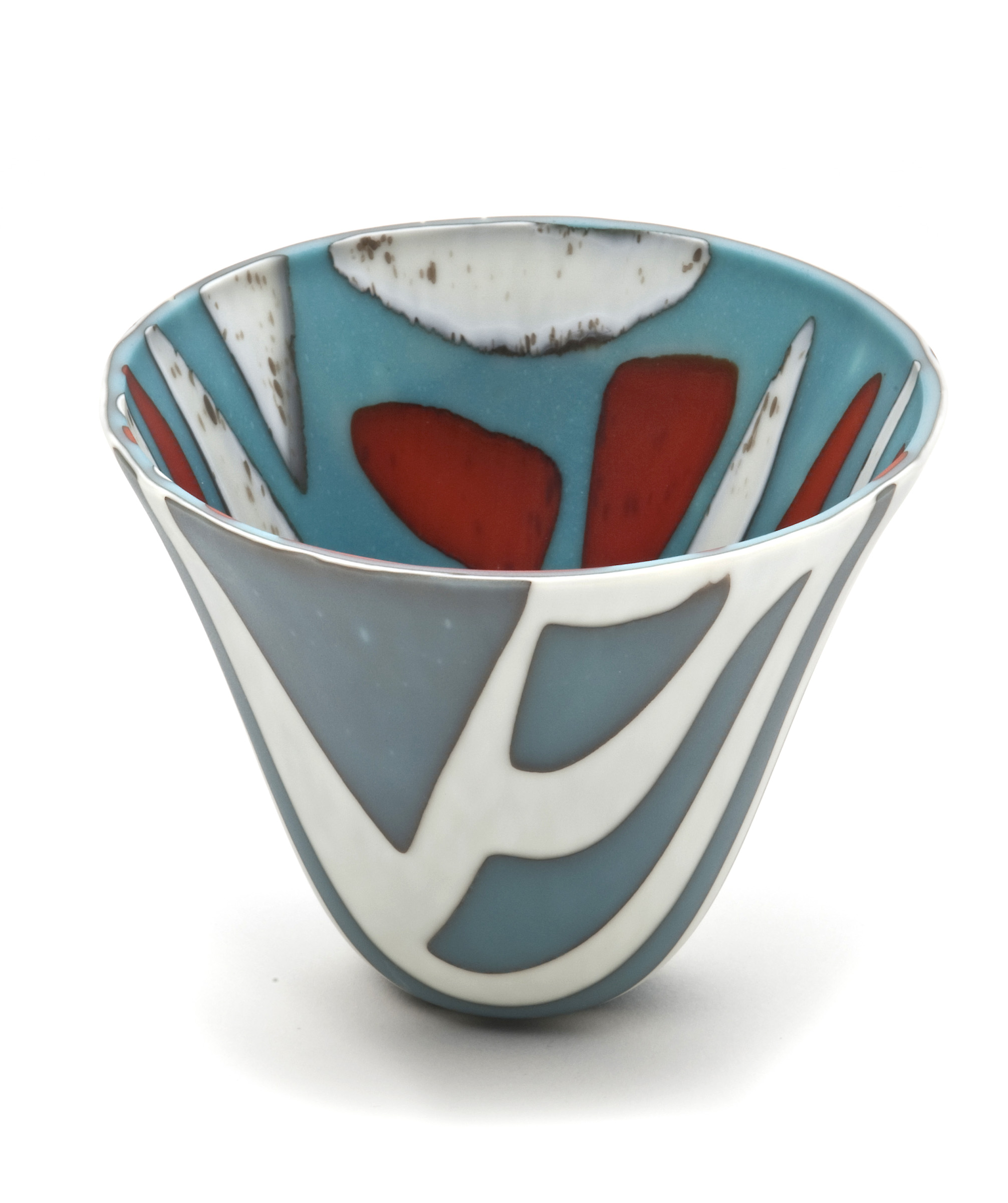 Red, Teal and White Small Bowl