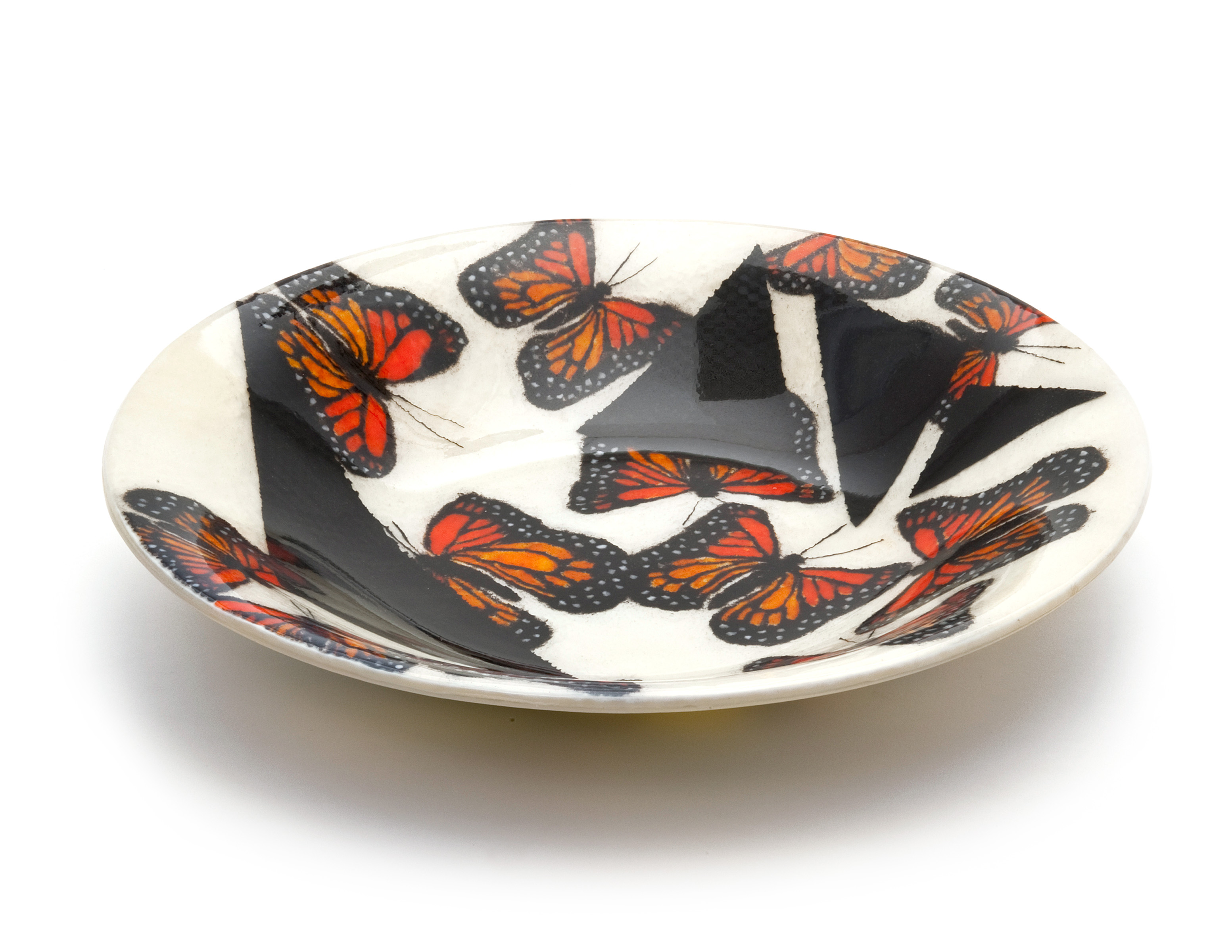 White Large Bowl Butterflies