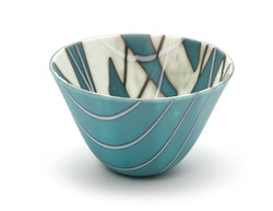 Turquoise and Cream Small Bowl