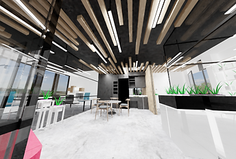 0813 Studio commercial interior design - small office design case study with industrial look and feel open ceiling and polished concrete flooring and timber slats 3d render 1