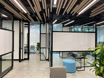 0813 Studio commercial interior designs - small office design with industrial look and feel open ceiling polished concrete floor completion photo 1