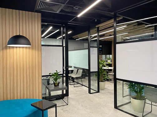 0813 Studio commercial interior designs - small office design with industrial look and feel open ceiling polished concrete floor completion photo 3