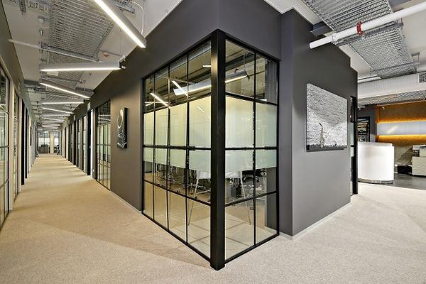 co-working office hallway interior desig