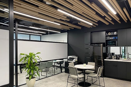 0813 Studio commercial interior designs - small office design with industrial look and feel open ceiling polished concrete floor completion photo 2