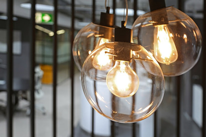 This is a photo of feature lighting design in next-gen office interior design project.