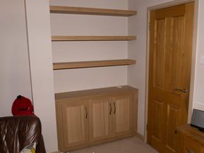 Oak Cabinet and Floating Shelves