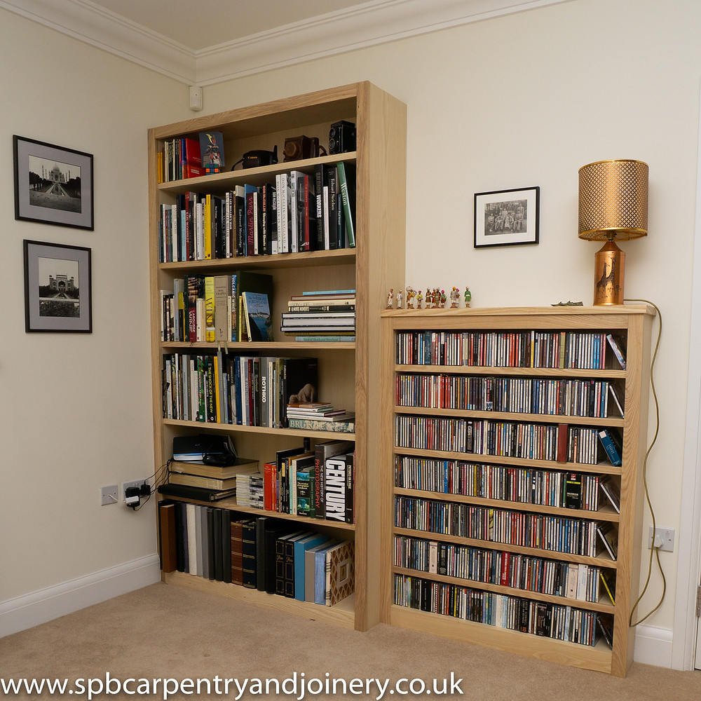 Ash Book shelving fitted by SPB Carpentry & Joinery