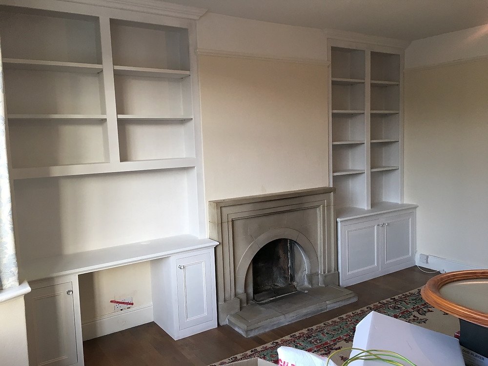 Bespoke alcove cabinets and shelving fitted in Oxford