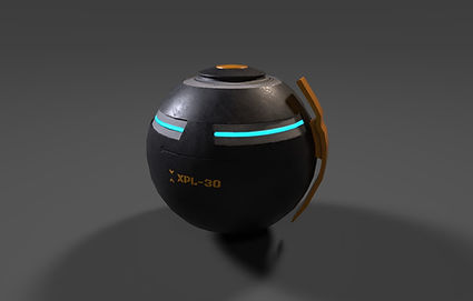Public domain 3D model of a scifi grenade