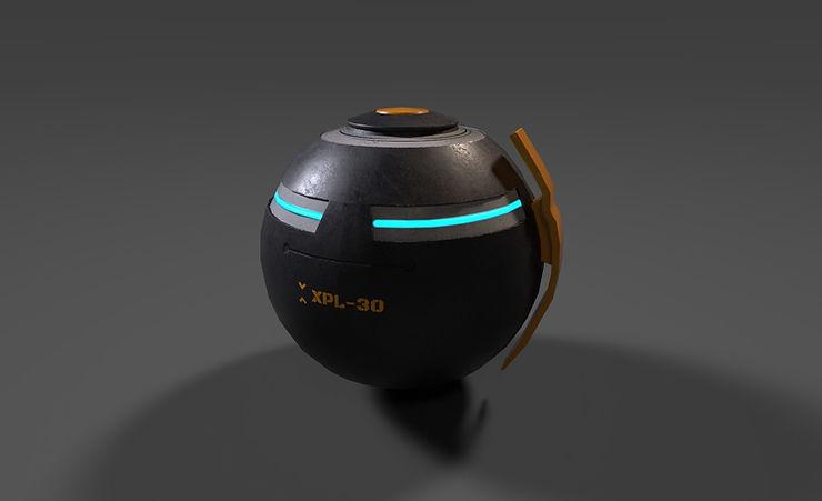 sci fi grenade 3d model free download