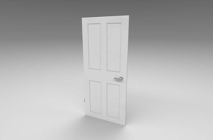 white wooden door 3d model free