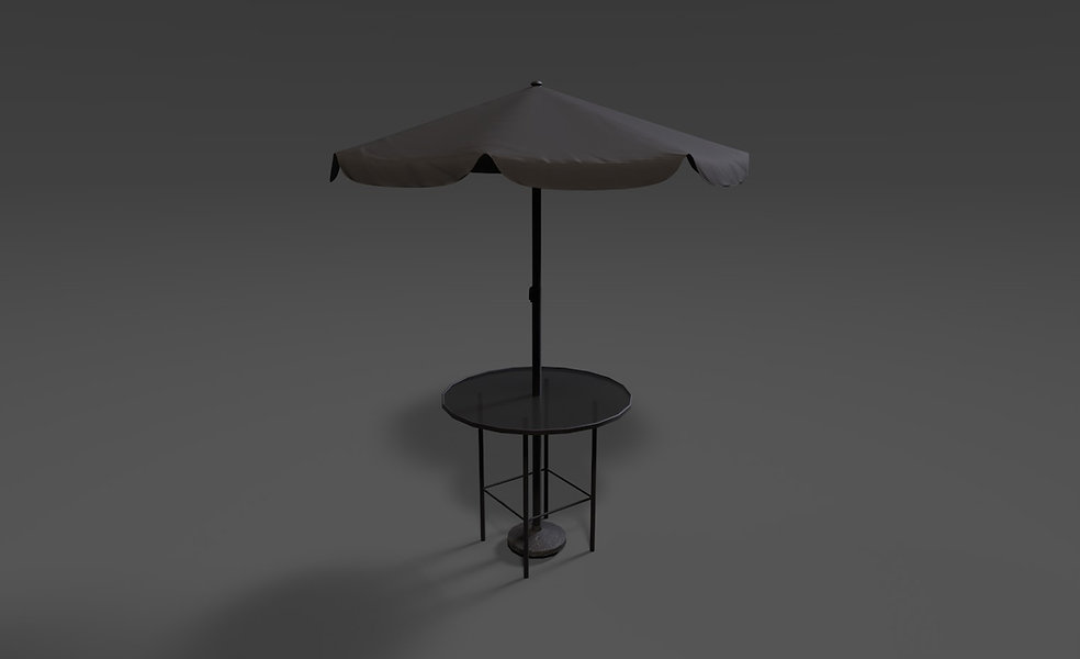 Outdoor table with sunshade 3d model