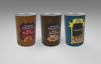 Public domain 3D model of different canned food. Spaghetti and beans.