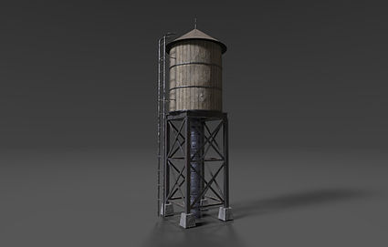 Public domain 3D model of a rooftop watertower