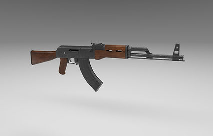 Public domain 3D model of AK-47 gun.