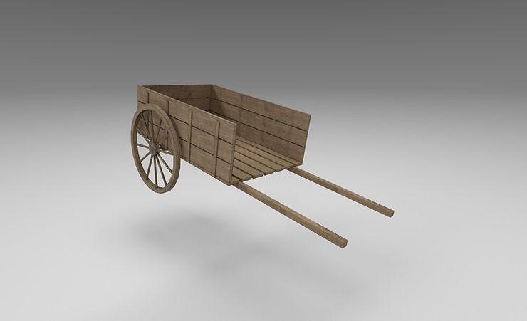wooden cart 3d model free download