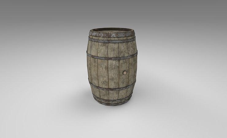 wooden barrel 3d model free