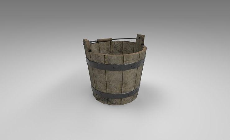 wooden water bucket 3d model free
