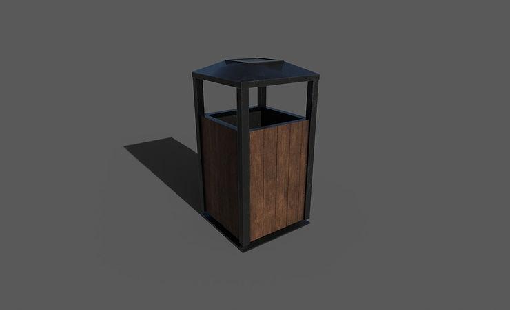 CC0 3D Models || outdoor trashcan 3d model free