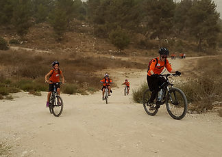 Youth in Israel learning Mountain Biking Skills