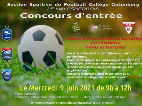 Concours d'entrée 2021-2022 à la section Football au Collège Gutenberg du Malesherbois.