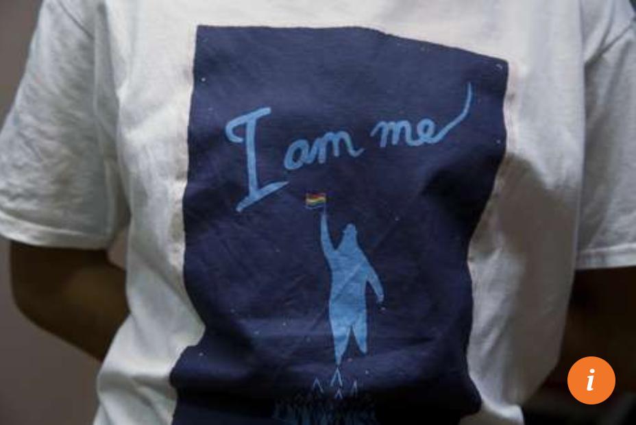 Liu wears a shirts saying,