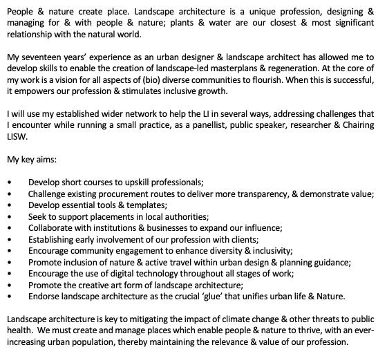 Manifesto for the Landscape Institute