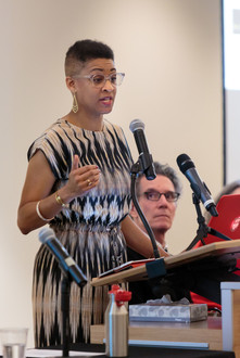 "Jacqueline Stewart speaks on the panel on ""Public Humanities."""