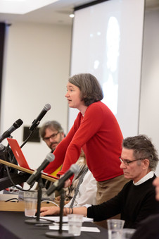 """Christine Mehring speaks on the panel on """"Integrating the Arts."""""""