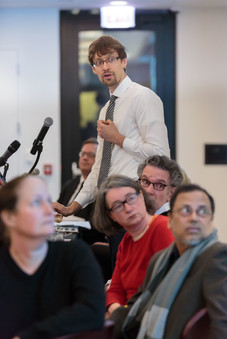 "Patrick Jagoda speaks on the panel on ""Public Humanities."""