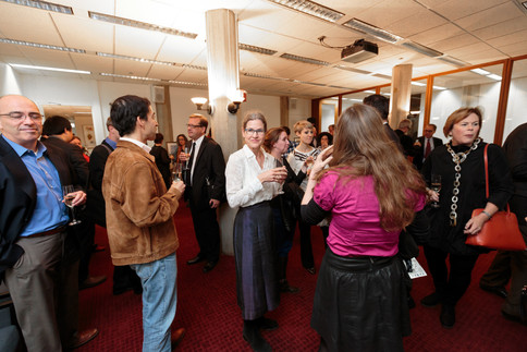 At the Franke Institute for the Humanities, guests await the champagne toast.