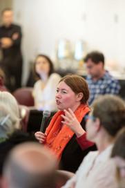 Orit Bashkin asks the panelists a question.