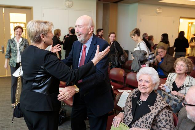 Martha Roth greets Richard Franke.