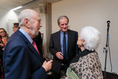 James Chandler talks with Barbara and Richard Franke.