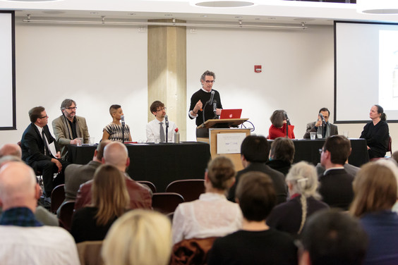 """Bill Brown speaks on the panel on """"Integrating the Arts."""""""