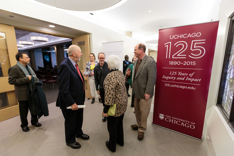 Guests congratulate Barbara and Richard Franke after the symposium.